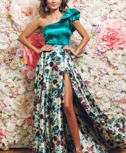 Bluza dama eleganta pe umar PrettyGirl turcoaz din material satinat - Bluze -