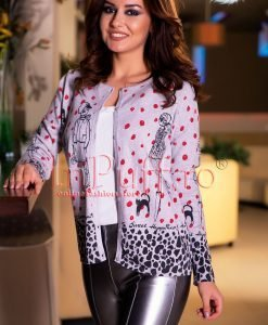 Bluza dama gri cu nasturi si model imprimat - PULOVERE -