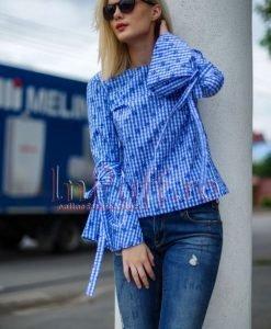 Bluza dama maneca lunga imprimeu albastru - BLUZE -