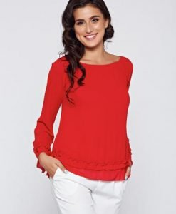 Bluza dama rosie eleganta din material vaporos captusita pe interior - Bluze -