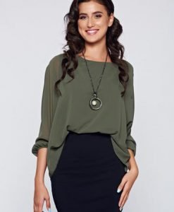 Bluza dama verde-inchis eleganta cu croi larg cu aplicatii de dantela - Bluze -
