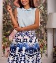 Bluza de vara bleu din voal cu guleras rotund - BLUZE -