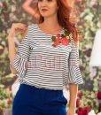 Bluza de vara cu broderie florala si umerii decupati - BLUZE -