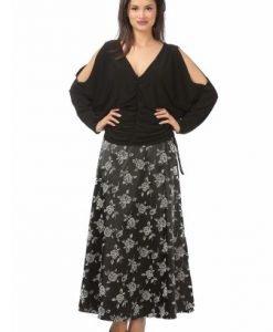 Bluza eleganta cu decolteu in V B093-N negru - Marimi mari -
