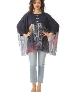 Bluza larga cu imprimeu B082-MB bleu - Marimi mari -