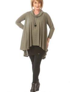 Bluza larga cu maneca lunga B080-M olive - Marimi mari -
