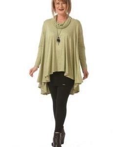Bluza larga cu maneca lunga B080-OM olive deschis - Marimi mari -