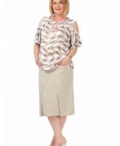 Bluza lejera cu imprimeu carouri B100-MC crem - Marimi mari -