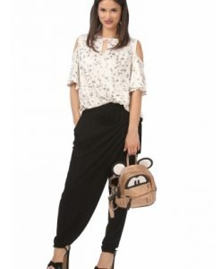 Bluza lejera cu imprimeu floral B100-FM crem - Marimi mari -