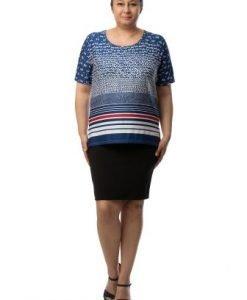 Bluza lejera cu imprimeu in dungi si buline CSF-038 - Marimi mari -