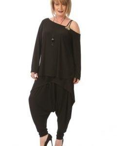 Bluza lejera cu maneca evazata B084-M negru - Marimi mari -