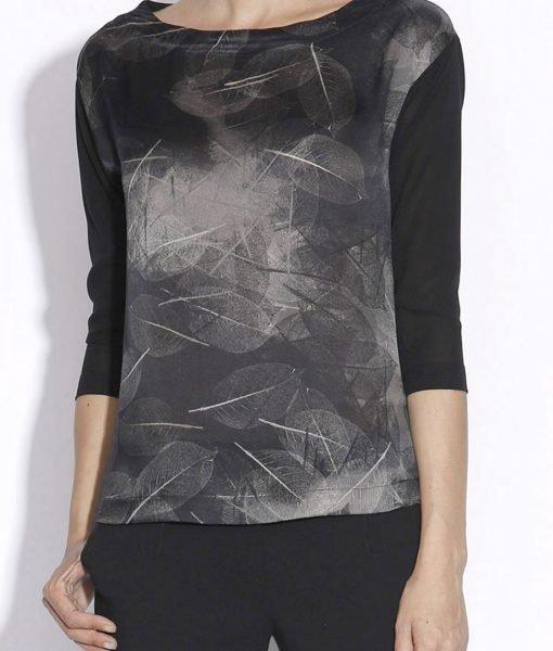 Bluza lejera din matase cu print vegetal Imprimat/Gri – Imbracaminte – Imbracaminte / Topuri
