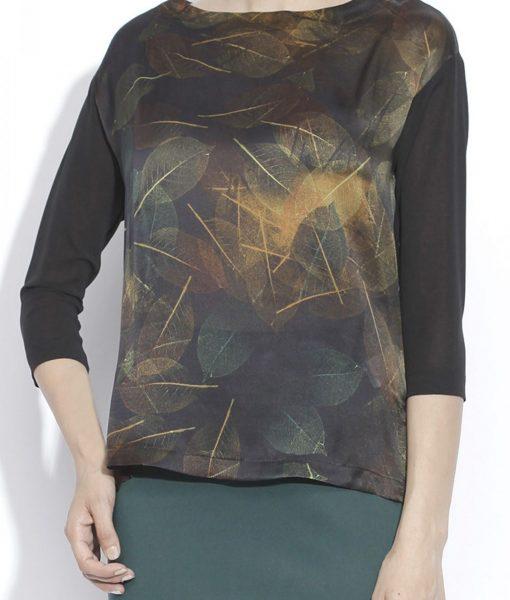 Bluza lejera din matase cu print vegetal Imprimat/Maro – Imbracaminte – Imbracaminte / Topuri