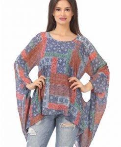 Bluza lejera din voal imprimat B098-M bleumarin - Marimi mari -