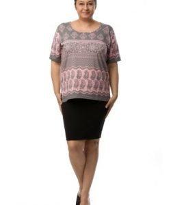 Bluza lejera gri cu imprimeu roz CSF-036 - Marimi mari -