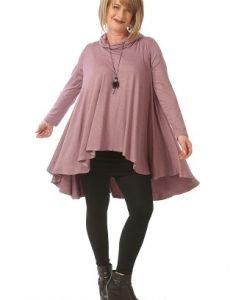 Bluza lila larga cu maneca lunga B080-LM - Marimi mari -