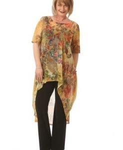 Bluza lunga cu imprimeu din voal B085-M multicolor - Marimi mari -