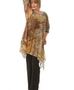 Bluza maro cu imprimeu asimetrica B081-MAM - Marimi mari -