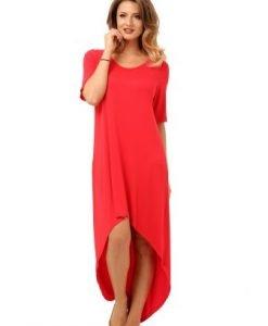 Bluza rosie asimetrica din vascoza B034-R - Marimi mari -