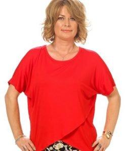 Bluza rosie petrecuta din vascoza B052-R - Marimi mari -