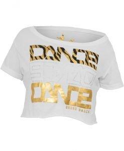 Bluza scurta Dance imprimeu zebra alb-auriu Urban Dance - Urban Dance - Urban Dance
