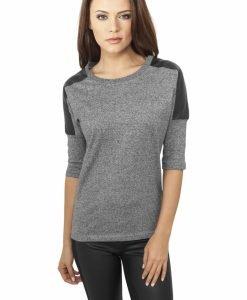 Bluze fashion cu maneci imitatie piele - Bluze urban - Urban Classics>Femei>Bluze urban
