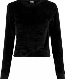 Bluze scurte tip catifea cu maneca lunga pentru Femei negru Urban Classics - Bluze urban - Urban Classics>Femei>Bluze urban