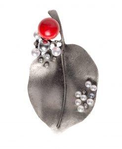 Brosa argintie cu pietre din sticla Argintiu - Accesorii - Accesorii / Brose