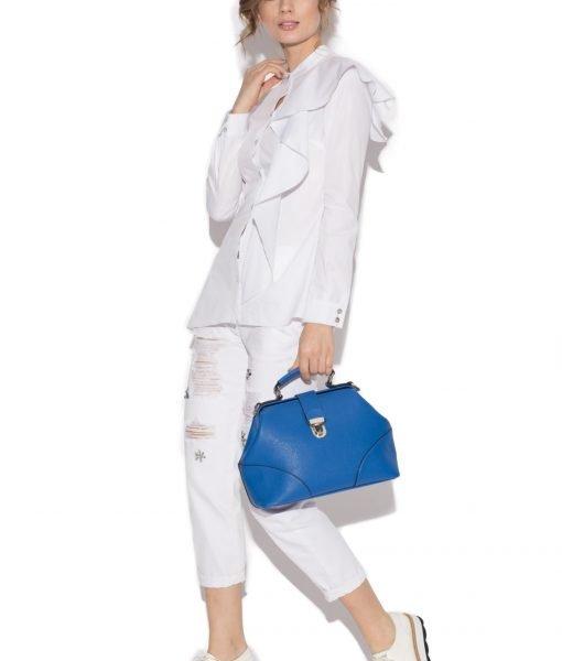Camasa alba din bumbac cu volan Alb – Imbracaminte – Imbracaminte / Camasi