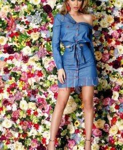 Camasa albastra scurta cu capse rosii - CAMASI -