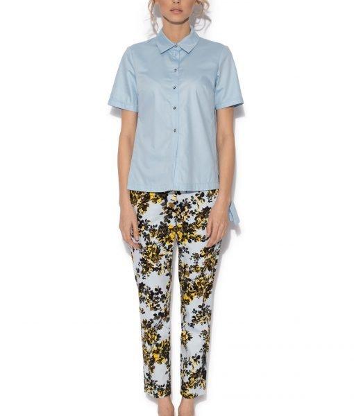 Camasa asimetrica cu maneca scurta Albastru Deschis – Imbracaminte – Imbracaminte / Camasi