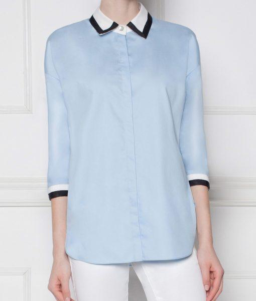 Camasa cu banda neagra in contrast Albastru – Imbracaminte – Imbracaminte / Camasi