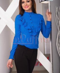 Camasa dama albastra cu volanase - CAMASI -