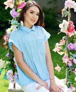 Camasa dama albastra-deschis din bumbac cu croi larg cu guler ascutit - Camasi -