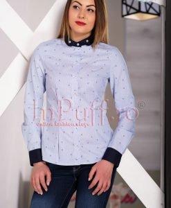 Camasa dama bleu cu dungi si guler bleumarin - CAMASI -