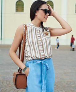 Camasa dama casual scurta maro cu dungi - Camasi -