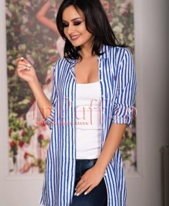 Camasa dama lunga cu dungi albastre - CAMASI -
