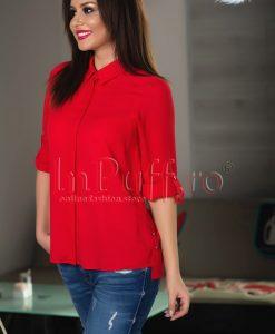 Camasa dama rosie cu maneca ajustabila - CAMASI -