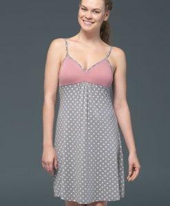 Camasa de noapte Rose Dots - modal - Lenjerie pentru femei - Camasi de noapte