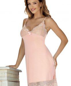 Camasa de noapte eleganta Holy de culoarea piersicii - Lenjerie pentru femei - Neglijeuri de lux
