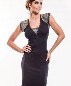 Camasa de noapte eleganta Leda Black - Lenjerie pentru femei - Neglijeuri de lux