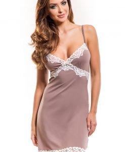 Camasa de noapte eleganta Madlen cappucino - Lenjerie pentru femei - Neglijeuri de lux