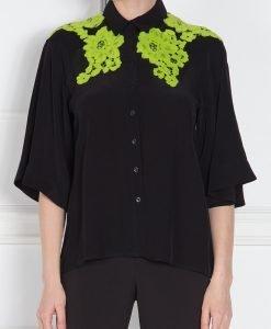 Camasa neagra cu broderie verde Negru - Imbracaminte - Imbracaminte / Camasi