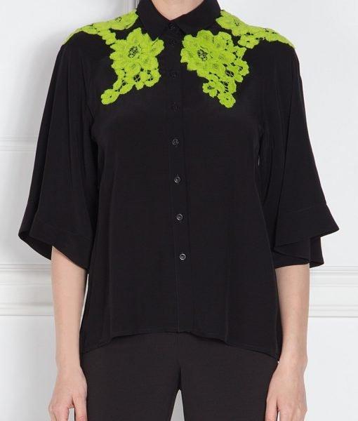 Camasa neagra cu broderie verde Negru – Imbracaminte – Imbracaminte / Camasi