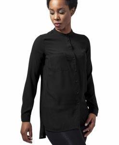 Camasa sifon cu maneca lunga si mai lunga in spate pentru Femei negru Urban Classics - Camasi urban - Urban Classics>Femei>Camasi urban