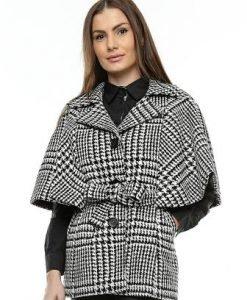Capa alb cu negru din lana CA08B - Jachete -