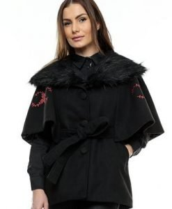 Capa neagra din lana cu broderie roz CA05 - Jachete -