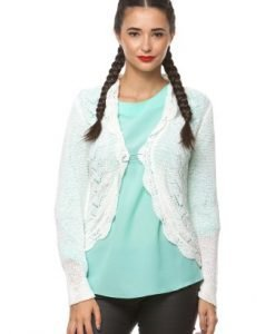 Cardigan alb din tricot 14645 - Cardigane -