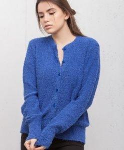 Cardigan albastru cu nasturi 16143 - Cardigane -