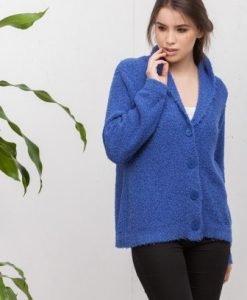 Cardigan albastru cu nasturi tricotat 16142 - Cardigane -
